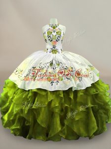 Artistic Olive Green Sleeveless Organza Side Zipper Quinceanera Gowns for Sweet 16 and Quinceanera