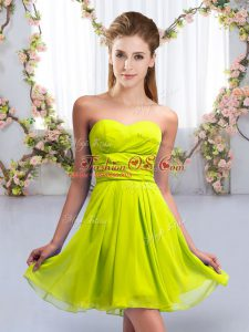 Nice Yellow Green Wedding Party Dress Wedding Party with Ruching Sweetheart Sleeveless Lace Up