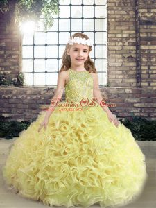 Yellow Green Fabric With Rolling Flowers Lace Up Kids Pageant Dress Sleeveless Floor Length Beading