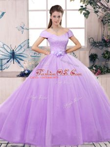 Lavender Tulle Lace Up Sweet 16 Dresses Short Sleeves Floor Length Lace and Hand Made Flower