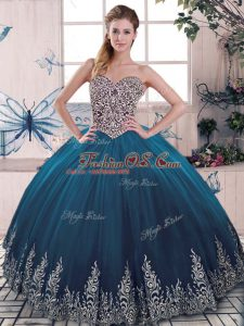 New Style Blue Ball Gown Prom Dress Sweet 16 and Quinceanera with Beading and Appliques Sweetheart Sleeveless Lace Up