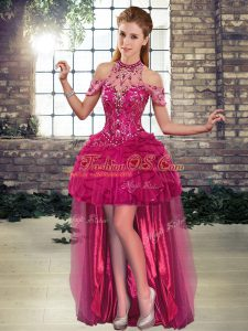 Fuchsia Halter Top Neckline Beading and Ruffles Juniors Party Dress Sleeveless Lace Up