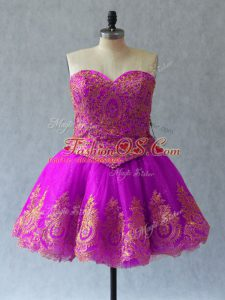 Smart Ball Gowns Club Wear Fuchsia Sweetheart Tulle Sleeveless Mini Length Lace Up