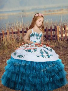 On Sale Blue Straps Lace Up Embroidery and Ruffled Layers Little Girls Pageant Gowns Sleeveless