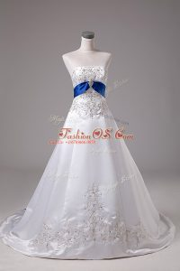 Sleeveless Satin Brush Train Lace Up Bridal Gown in White with Beading and Embroidery