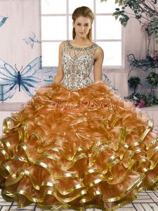 Discount Scoop Sleeveless Organza Quince Ball Gowns Beading and Ruffles Lace Up