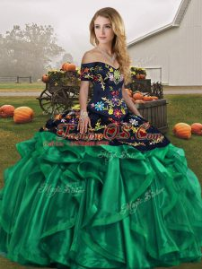 Super Green Lace Up Off The Shoulder Embroidery and Ruffles Quinceanera Gown Organza Sleeveless