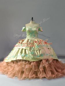 Ideal Multi-color Ball Gowns Off The Shoulder Sleeveless Organza Chapel Train Lace Up Embroidery and Ruffles Sweet 16 Dresses