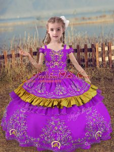 Sleeveless Lace Up Floor Length Beading and Embroidery Pageant Gowns For Girls