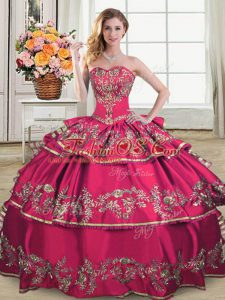 Dynamic Organza Sweetheart Sleeveless Lace Up Embroidery and Ruffled Layers Quince Ball Gowns in Hot Pink