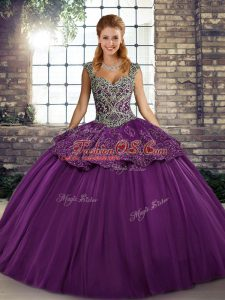 Purple Straps Lace Up Beading and Appliques Ball Gown Prom Dress Sleeveless