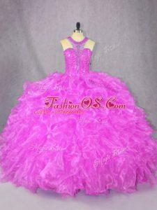 Scoop Sleeveless Zipper Sweet 16 Quinceanera Dress Fuchsia Organza