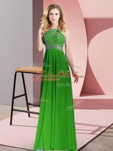 Smart Green Empire Chiffon Scoop Sleeveless Beading Floor Length Backless Prom Gown