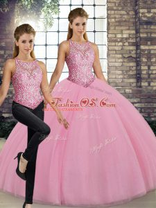 Affordable Floor Length Pink Quinceanera Gowns Scoop Sleeveless Lace Up