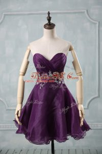 Trendy Purple Sleeveless Appliques and Ruching Mini Length Cocktail Dresses