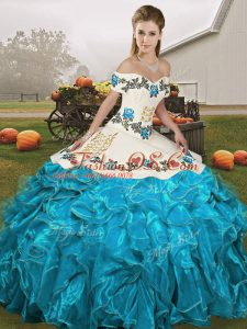 Exquisite Embroidery and Ruffles Sweet 16 Dress Blue And White Lace Up Sleeveless Floor Length