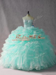Sexy Apple Green Quinceanera Gown Strapless Sleeveless Brush Train Side Zipper