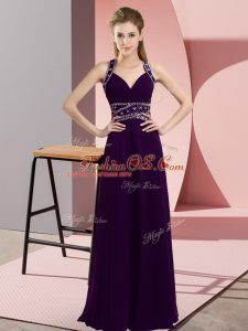 Sexy Beading Party Dress Wholesale Purple Backless Sleeveless Floor Length