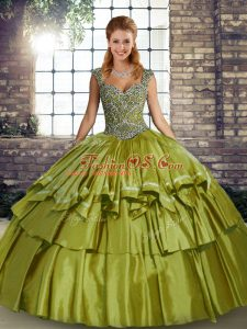 Modern Olive Green Ball Gowns Taffeta Straps Sleeveless Beading and Ruffled Layers Floor Length Lace Up Quinceanera Gowns