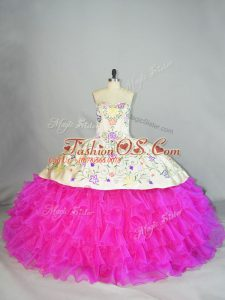 Fuchsia Sleeveless Embroidery and Ruffled Layers Lace Up Quinceanera Dress