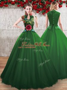 Floor Length A-line Sleeveless Green Ball Gown Prom Dress Lace Up
