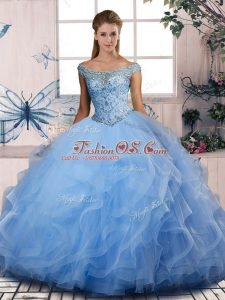 Blue Off The Shoulder Neckline Beading and Ruffles Vestidos de Quinceanera Sleeveless Lace Up