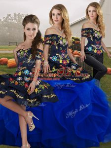 Off The Shoulder Sleeveless Lace Up Sweet 16 Dress Royal Blue Tulle