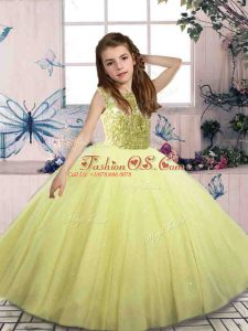 Perfect Floor Length Lace Up Little Girls Pageant Dress Yellow Green for Party and Wedding Party with Beading