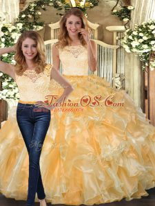 Fabulous Gold Organza Clasp Handle 15th Birthday Dress Sleeveless Floor Length Lace and Ruffles