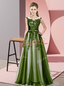 Olive Green Empire Beading and Lace Quinceanera Court of Honor Dress Zipper Tulle Sleeveless Floor Length