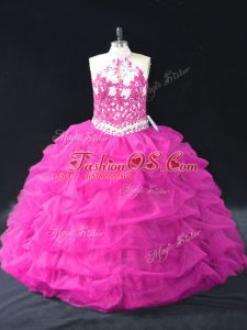 Great Fuchsia Ball Gowns Organza Halter Top Sleeveless Beading and Lace and Pick Ups Floor Length Backless Ball Gown Prom Dress