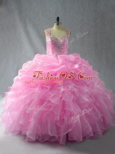 Sophisticated Baby Pink Zipper Straps Beading and Ruffles and Pick Ups Sweet 16 Quinceanera Dress Organza Sleeveless