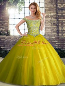 Best Yellow Green Ball Gowns Off The Shoulder Sleeveless Tulle Brush Train Lace Up Beading Quinceanera Gowns