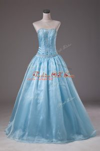Baby Blue Ball Gowns Organza Strapless Sleeveless Beading Floor Length Lace Up Sweet 16 Dress