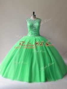 Suitable Green Sleeveless Tulle Lace Up Sweet 16 Dress for Sweet 16 and Quinceanera