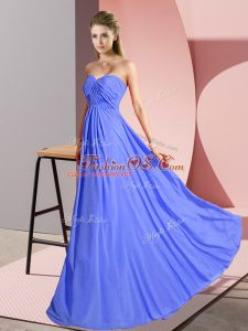 Sumptuous Blue Sweetheart Lace Up Ruching Celebrity Inspired Dress Sleeveless
