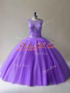 Best Floor Length Lavender Quinceanera Gown Tulle Sleeveless Beading