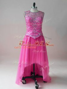Hot Pink Tulle Scoop Sleeveless High Low Celebrity Prom Dress Beading