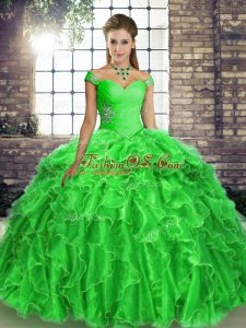 Custom Made Green Lace Up Quince Ball Gowns Beading and Ruffles Sleeveless Brush Train