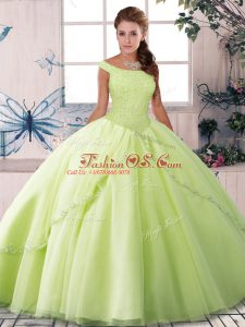 Fashion Yellow Green Ball Gowns Off The Shoulder Sleeveless Tulle Brush Train Lace Up Beading Quinceanera Gowns