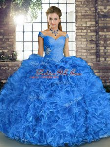 Sweet Blue Sleeveless Beading and Ruffles Floor Length Vestidos de Quinceanera