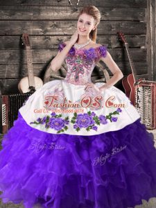 Purple Sleeveless Organza Lace Up Sweet 16 Dress for Sweet 16 and Quinceanera