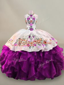 Modest Floor Length Lace Up Quinceanera Gown Purple for Party and Sweet 16 and Quinceanera with Embroidery