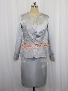 Grey Square Neckline Lace and Appliques Mother Of The Bride Dress Sleeveless Zipper