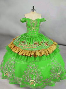 Green Sleeveless Satin Lace Up Ball Gown Prom Dress for Sweet 16 and Quinceanera