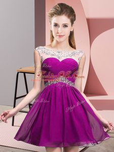 Fuchsia Backless Scoop Beading and Ruching Celebrity Inspired Dress Chiffon Sleeveless