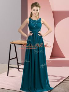 Latest Teal Sleeveless Chiffon Zipper Dama Dress for Wedding Party