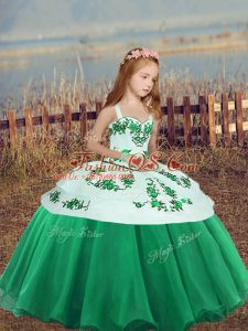 Discount Ball Gowns Winning Pageant Gowns Green Straps Organza Sleeveless Floor Length Side Zipper