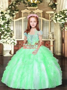 Beautiful Floor Length Ball Gowns Sleeveless Little Girls Pageant Gowns Lace Up