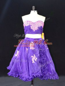 Chic Purple Sleeveless Mini Length Appliques and Ruffles Zipper Prom Dress